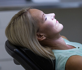 Relaxed woman in dental chair