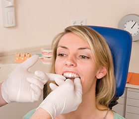 Woman being fitted for occlusal spling